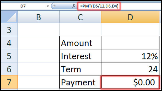 Demo Data for using PMT in Excel 2007
