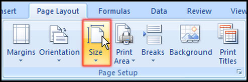 Select Size from Page Layout for paper size in Excel 2007