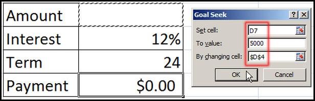 Set value in Goal Seek dialog box in Excel 2007
