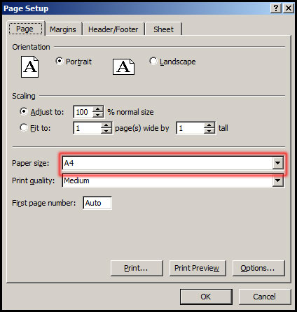 Select more paper size in Excel 2007