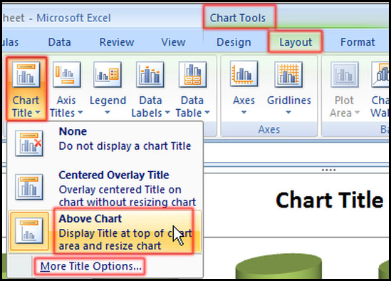 Create or change chart title in Excel 2007
