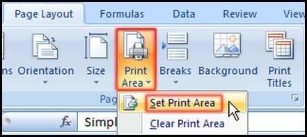 Select Print Area in Excel 2007