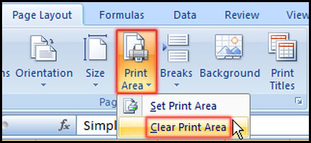 Clear Print Area in Excel 2007