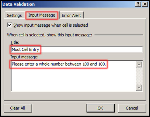 Input Message data validation in Excel 2007