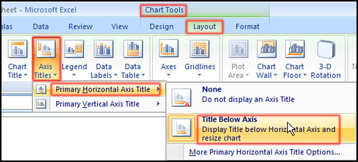 Select Primary Horizontal Axis Title in Excel 2007