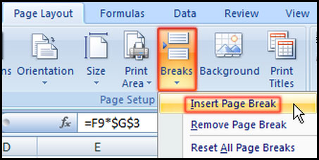 Insert Page Break in Excel 2007