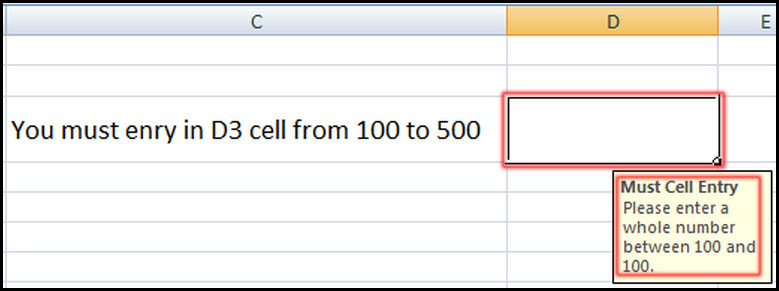Show input message a cell for data validation in Excel 2007