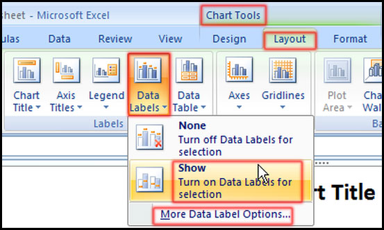 Show or hide Data Labels in Excel 2007