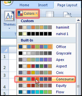 Select color from color option in Excel 2007