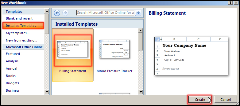 Select templates in Excel 2007