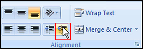 Increase Indent in Excel 2007