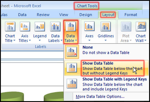 Show or hide data table in Excel 2007