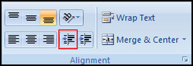 Decrease Indent in Excel 2007