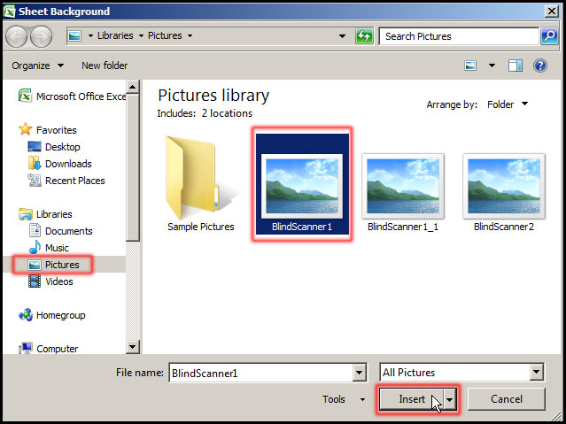 Select Picture fro Sheet Background Dialog Box in Excel 2007