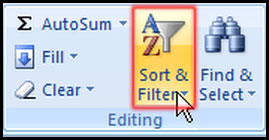 Select Sort and filter from editing group in Excel 2007