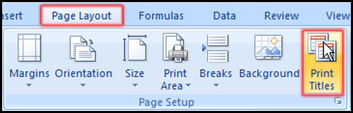 Select Print Title Command in Excel 2007
