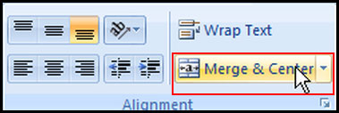 Merge Cell in Excel 2007