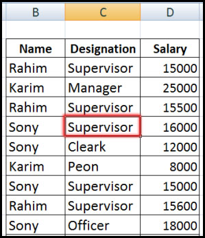 Select any cell from database for sorting in Excel 2007