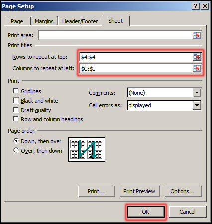 Select range for print title in Excel 2007