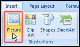 Insert a Picture in worksheet in Excel 2007