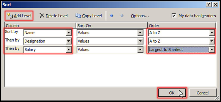 Setting custom value for sorting in Excel 2007