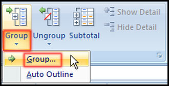 Select group from outline group in Excel 2007
