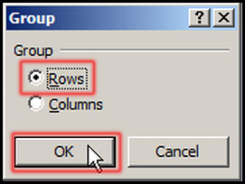 Select row for group data in Excel 2007