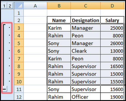Show group data in Excel 2007
