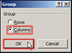 Select Column for data grouping in Excel 2007