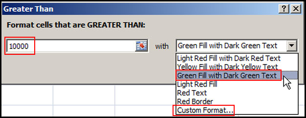 Apply greater than conditional formatting rule in Excel 2007