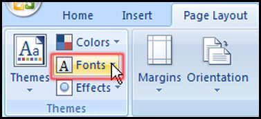 Change font from themes in Excel 2007