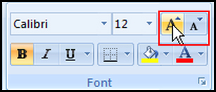 Decrease and increase font size by icon in Excel 2007