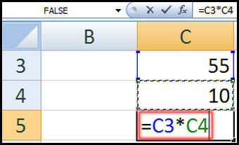 Multiplies the contents of two cells in Excel 2007