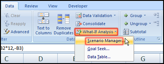 Select Scenario Manager from Data tab in Excel 2007