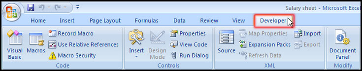 Turn on Developer Tab in Excel 2007