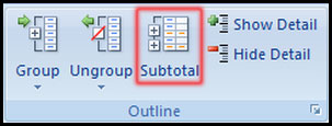 Select Subtotal command from outline in Excel 2007