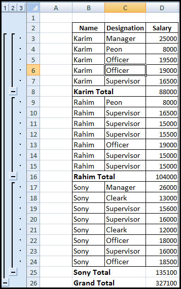 Show subtotal result in Excel 2007
