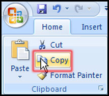 Select copy from clipboard in Excel 2007