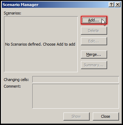 Add Scenario in Scenario Manager in Excel 2007