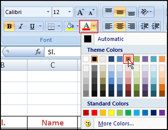 Change font color in Excel 2007