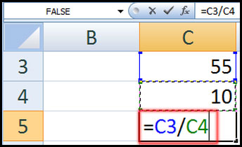 Divides one cell by another in Excel 2007