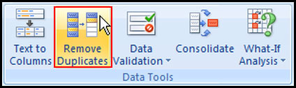 Remove duplicate row in Excel 2007