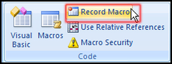 Run Macro from Developer Tab in Excel 2007