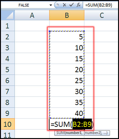 Using AutoSum Function in Excel 2007