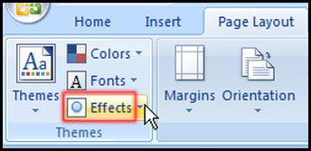 Change Effect from Theme Group in Excel 2007