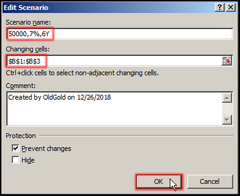 Define Scenario Name, Changing cells in Excel 2007