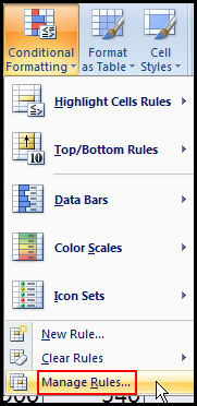 Manage conditional formatting rule in Excel 2007