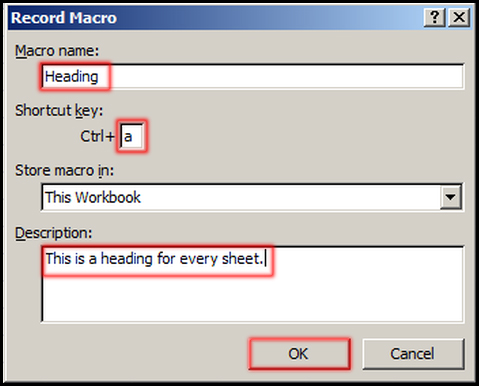 Record Macro Dialog Box in Excel 2007