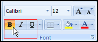 Using Bold, Italic and Underline in Excel 2007
