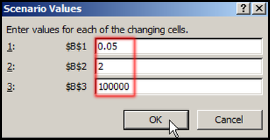 Change Scenario Values in Excel 2007